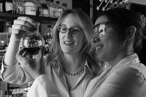 Inside a laboratory stocked with bottles on shelves, two women researchers wearing white lab coats hold up a beaker, looking at the dark liquid it contains